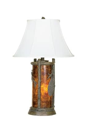 Mario Industries Lodge Pine Cone Table Lamp in Antiqued Bronze Finish Lighting