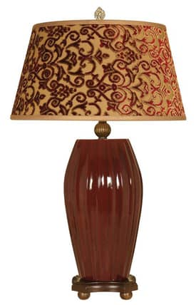 Mario Industries Contemporary Ribbed Table Lamp in Burgundy Finish Lighting