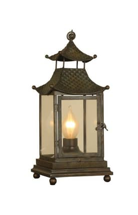 Mario Industries Contemporary Lantern Mini Table Lamp in Brown Finish Lighting