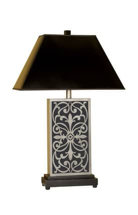 Mario Industries Contemporary Scrolled Metal With Ceramic Table Lamp in Black Finish Lighting