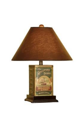 Mario Industries Whimsical Decorative Tin Canister Table Lamp in Brown Finish Lighting