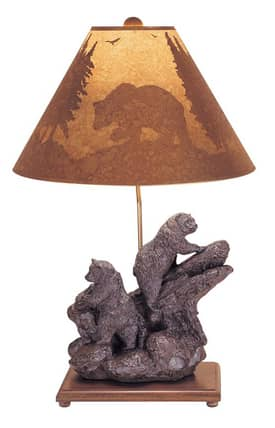 Mario Industries Lodge Double Bear Table Lamp in Brown Finish Lighting