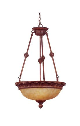 Reliance Lamp Pendant Hanging 3 Light Chandelier in Weathered Brown Finish Lighting