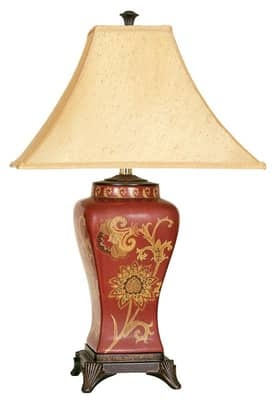 Reliance Lamp Georgetown Georgetown Table Lamp in Red With Gold Aura Silk Shade Lighting