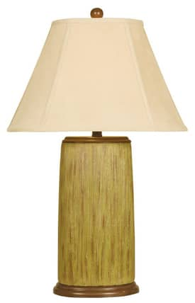 Reliance Lamp Contemporary Brown Striated Table Lamp in Yellow Lighting