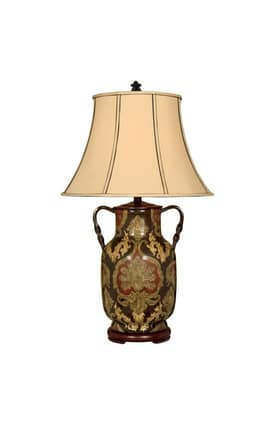 Reliance Lamp Country & Floral Floral Porcelain Table Lamp in Black Lighting
