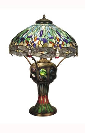 Dale Tiffany Tiffany Blue Dragonfly 0007/273E Table Lamp in Antique Verde Finish Lighting