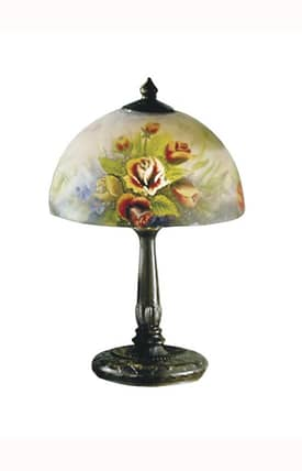Dale Tiffany Country & Floral Rose Dome 10057/610 Table Lamp in Antique Bronze Finish Lighting