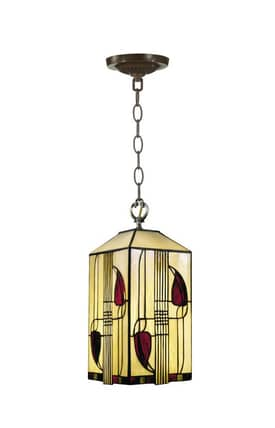 Dale Tiffany Geometric Henderson Tiffany Mackintosh Hanging fixture with Antique Brass Finish Lighting