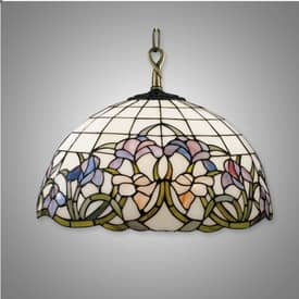 Dale Tiffany Floral Hummingbird Tiffany Hanging Fixture with Antique Brass Finish Lighting