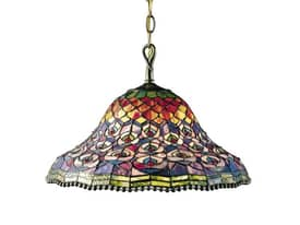Dale Tiffany Peacock Peacock Tail Pendant in Antique Brass Finish Lighting