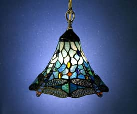 Dale Tiffany Floral Dragonfly Tiffany Hanging Fixture with Antique Brass Finish Lighting