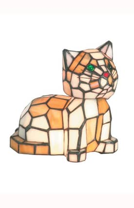 Dale Tiffany Tiffany Tiger Cat Accent TA100859 Table Lamp in Multi Lighting