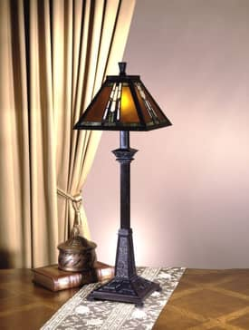 Dale Tiffany Buffet Amber Monarch Tiffany Buffet Lamp with Mica Bronze Finish Lighting