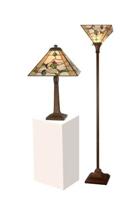Dale Tiffany Tiffany TC11174 Green Leafs Table And Torchiere Floor Lamps Set Lighting