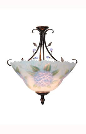 Dale Tiffany Country & Floral Tiffany Handpaint TH10491 2 Light Flush Mount in Antique Golden Sand Finish Lighting