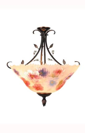 Dale Tiffany Country & Floral Tiffany Handpaint TH10492 2 Light Flush Mount in Antique Golden Sand Finish Lighting