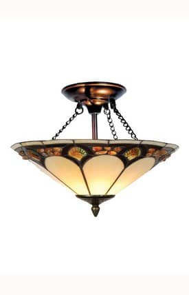 Dale Tiffany Tiffany Tiffany Pebblestone TH10493 2 Light Semi Flush Mount in Antique Bronze Finish Lighting