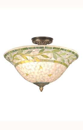 Dale Tiffany Traditional Mosaic TH70655 3 Light Semi Flush Mount in Antique Brass Finish Lighting