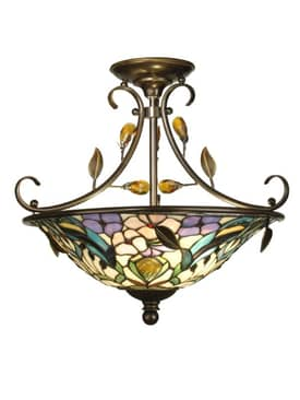 Dale Tiffany Peony Crystal Peony Semi Flush Mount in Antique Golden Sand Finish Lighting