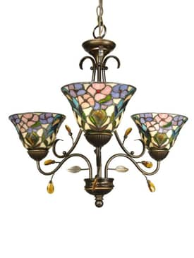 Dale Tiffany Peony Peony Three Light Chandelier in Antique Golden Sand Finish Lighting