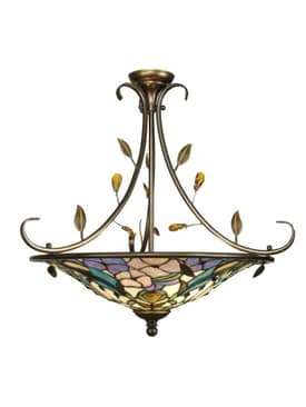 Dale Tiffany Peony Crystal Peony I Pendant in Antique Golden Sand Finish Lighting