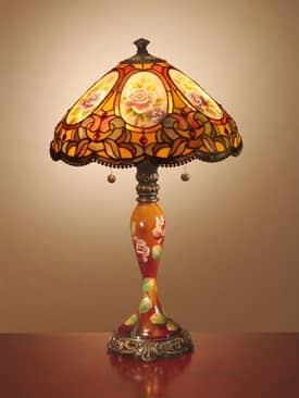 Dale Tiffany Hand Painted Scoville Tiffany Table Lamp with Antique Golden Sand Finish Lighting