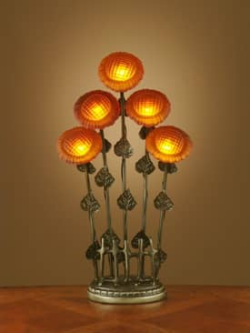 Dale Tiffany Favrile Art Glass Sunflower Table Lamp with Five Lights in Antique Brass Finish Lighting
