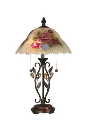 Dale Tiffany Traditional TT10449 Hand Painted Table Lamp with Able Crystal Leaves Lighting