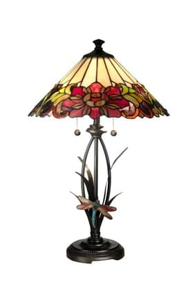 Dale Tiffany Tiffany TT10793 Floral With Dragonfly Table Lamp Lighting