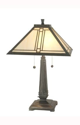 Dale Tiffany Tiffany Lined Mission TT70735 Table Lamp in Antique Brass Finish Lighting