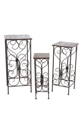 Privilege Intl. Racks 3 Piece Square Iron and Wood Plant Stands Furniture