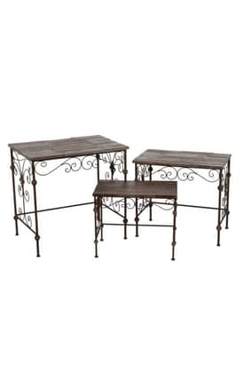 Privilege Intl. Tables 3 Piece Iron and Wood Nesting Tables Furniture
