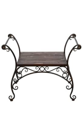 Privilege Intl. Benches Wood and Iron Garden Bench Furniture