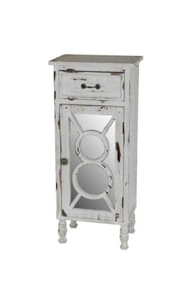 Privilege Intl. Cabinets 1 Drawer Reclaimed Mirrored Cabinet Furniture