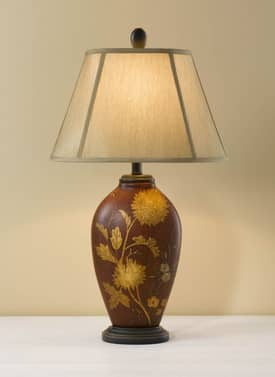 Murray Feiss Hand Painted Hand Painted Porcelain 9910SRFE Table Lamp in Sienna Red Finish Lighting