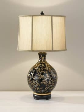 Murray Feiss Hand Painted Hand Painted Porcelain 9915GBGFP Table Lamp in Glossy Black Finish Lighting