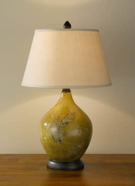 Murray Feiss Hand Painted Hand Painted Porcelain 9921SDLB Table Lamp in Sundance Leaf Finish Lighting