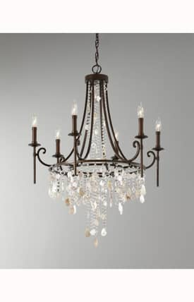 Murray Feiss Cascade Cascade 6 Light Single Tier Chandelier in Heritage Bronze Finish Lighting