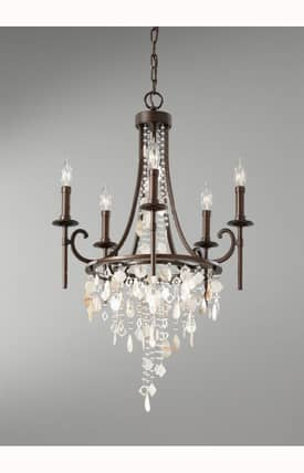 Murray Feiss Cascade Cascade 5 Light Single Tier Chandelier in Heritage Bronze Finish Lighting