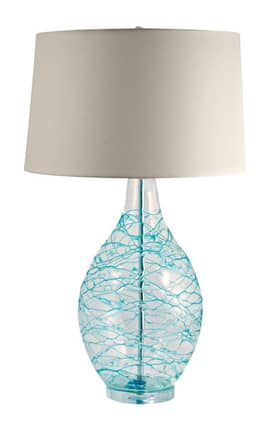 Lamp Works Glass Blue Glass Swirl Over Clear Glass Table Lamp in Blue Lighting