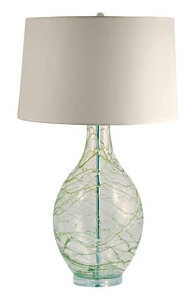 Lamp Works Glass Green Glass Swirl Over Clear Glass Table Lamp in Green Lighting