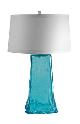 Lamp Works Contemporary Aqua Wave Table Lamp in Aqua Finish Lighting