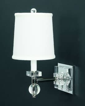 Lamp Works Crystal Crystal Estrella Wall Sconce With White Shade Lighting