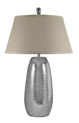 Lamp Works Contemporary Handed Hammered Oblong Table Lamp in Polished Aluminum Finish Lighting