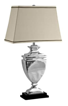 Lamp Works Contemporary Stepped Urn Table Lamp in Polished Aluminum Finish Lighting