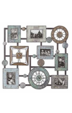 Uttermost Wall Clocks Petina Wall Clock And Photo Collage