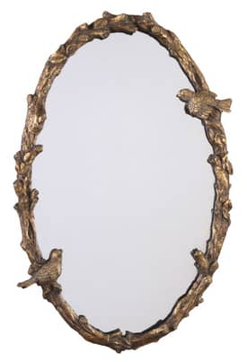 Uttermost Casual Paza Bird Oval Mirror in Antiqued Gold Leaf Finish
