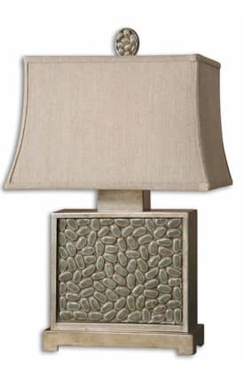 Uttermost Cabry Cabry 26513 Table Lamp in Distressed Mossy Green & Antiqued Silver Finish Lighting