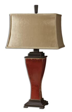 Uttermost Abiona Abiona 26740 Table Lamp in Distressed Burnished Red Finish Lighting